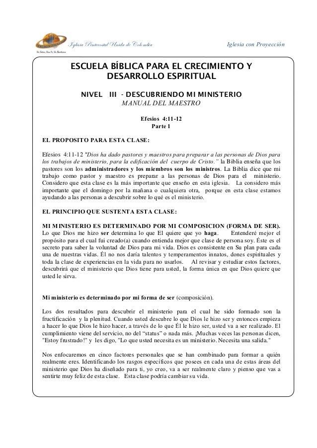 Iglesia Pentecostal Unida de Colombia Iglesia con Proyección ESCUELA BÍBLICA PARA EL CRECIMIENTO Y DESARROLLO ESPIRITUAL N...