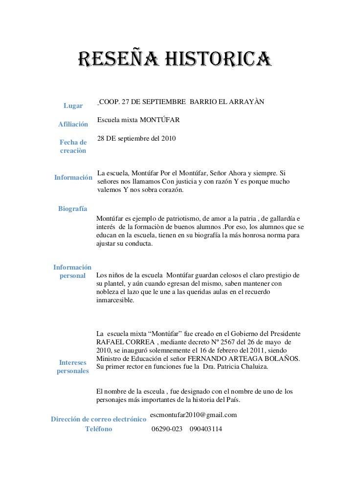 RESEÑA HISTORICA<br />Lugar COOP. 27 DE SEPTIEMBRE  BARRIO EL ARRAYÀNAfiliaciónEscuela mixta MONTÚFARFecha de creaciò...