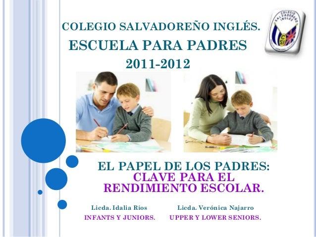 COLEGIO SALVADOREÑO INGLÉS. ESCUELA PARA PADRES 2011-2012 Licda. Idalia Ríos Licda. Verónica Najarro INFANTS Y JUNIORS. UP...