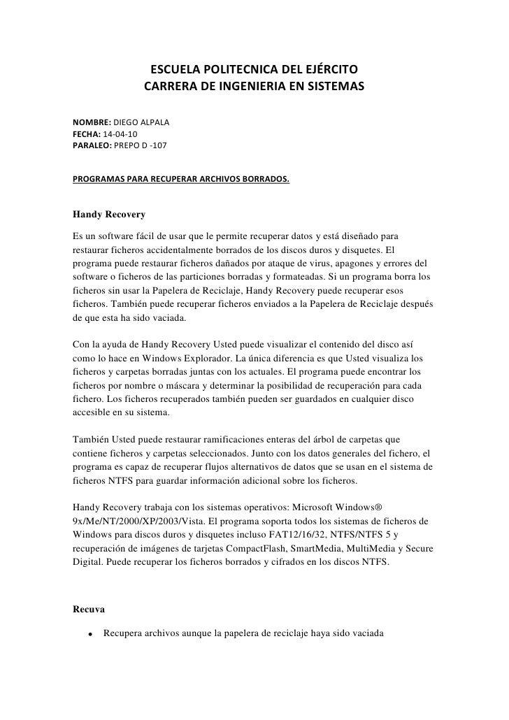 ESCUELA POLITECNICA DEL EJÉRCITO<br />CARRERA DE INGENIERIA EN SISTEMAS<br />NOMBRE: DIEGO ALPALA<br />FECHA: 14-04-10<br ...