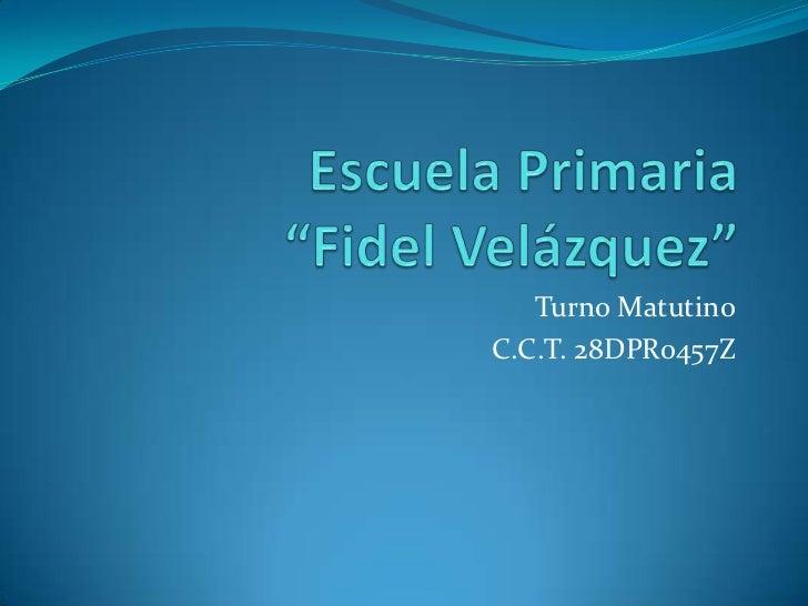 """Escuela Primaria                           """"Fidel Velázquez""""<br />Turno Matutino<br />C.C.T. 28DPR0457Z<br />"""