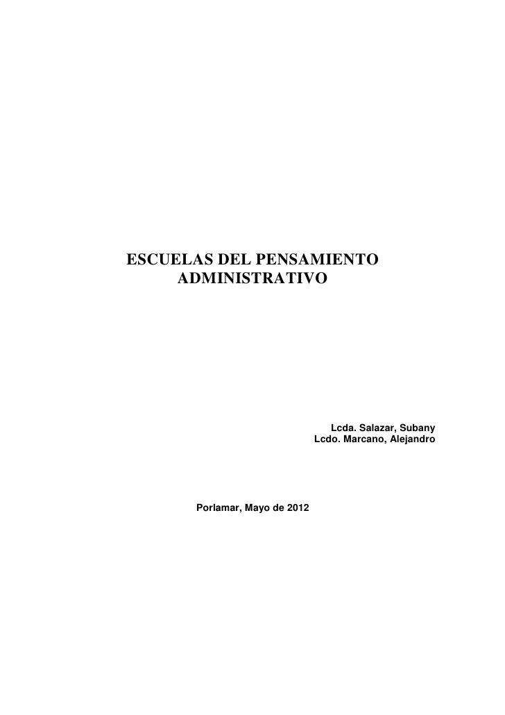 ESCUELAS DEL PENSAMIENTO     ADMINISTRATIVO                                  Lcda. Salazar, Subany                        ...