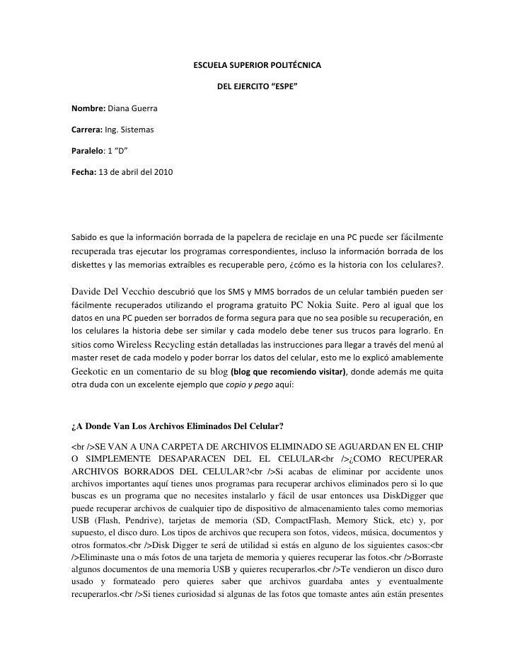 """ESCUELA SUPERIOR POLITÉCNICA <br />DEL EJERCITO """"ESPE""""<br />Nombre: Diana Guerra<br />Carrera: Ing. Sistemas <br />Paralel..."""