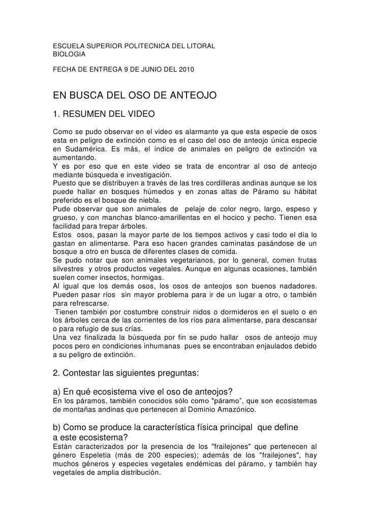 ESCUELA SUPERIOR POLITECNICA DEL LITORAL<br />BIOLOGIA<br />FECHA DE ENTREGA 9 DE JUNIO DEL 2010<br />EN BUSCA DEL OSO DE ...