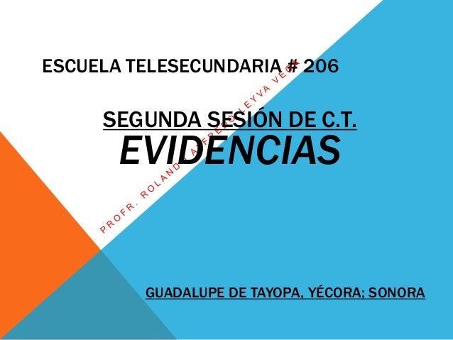 ESCUELA TELESECUNDARIA # 206 SEGUNDA SESIÓN DE C.T. EVIDENCIAS GUADALUPE DE TAYOPA, YÉCORA; SONORA