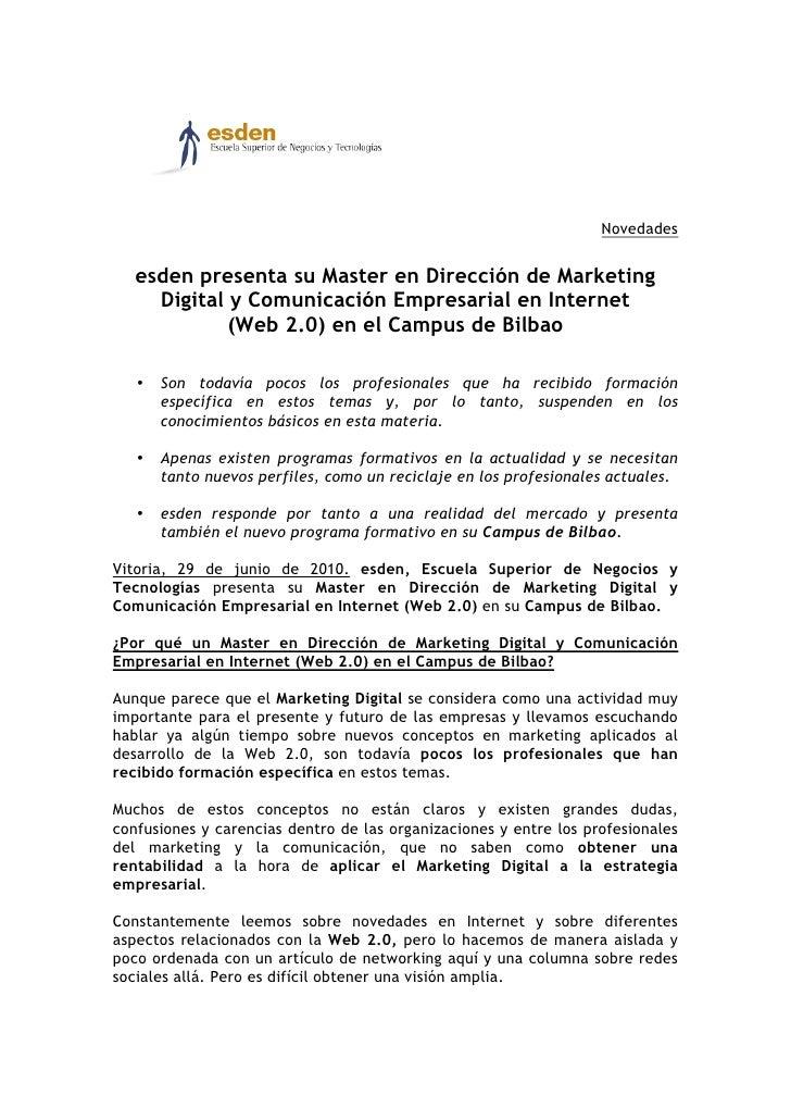 Novedades      esden presenta su Master en Dirección de Marketing      Digital y Comunicación Empresarial en Internet     ...