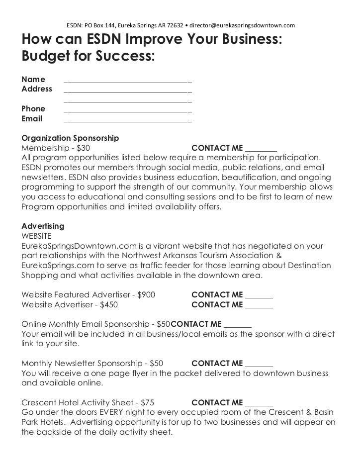 ESDN: PO Box 144, Eureka Springs AR 72632 • director@eurekaspringsdowntown.comHow can ESDN Improve Your Business:Budget fo...
