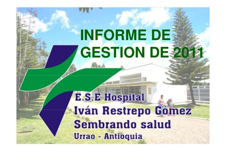 Gestión de la ESE hospital de Urrao durante 2011