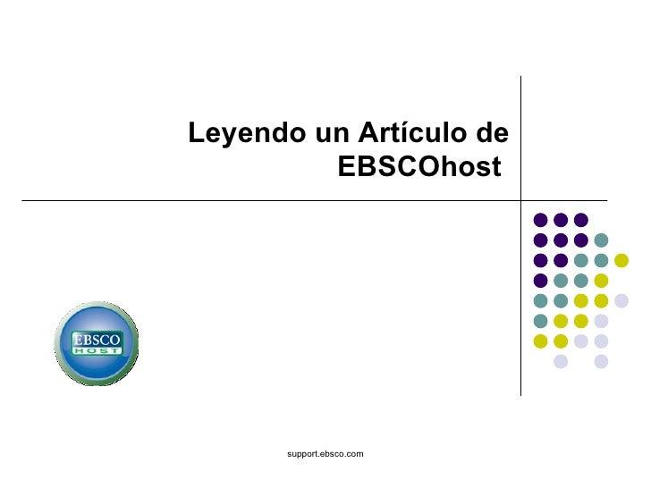 support.ebsco.com Leyendo un Artículo de EBSCOhost