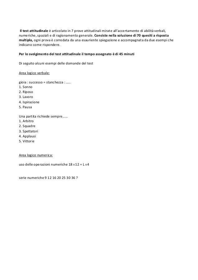 Esempio di test attitudinale Università Europea di Roma