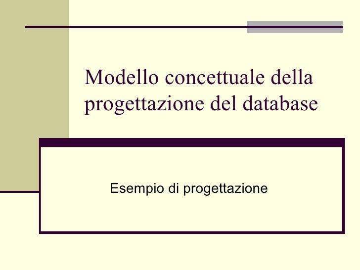 Modello concettuale della progettazione del database Esempio di progettazione