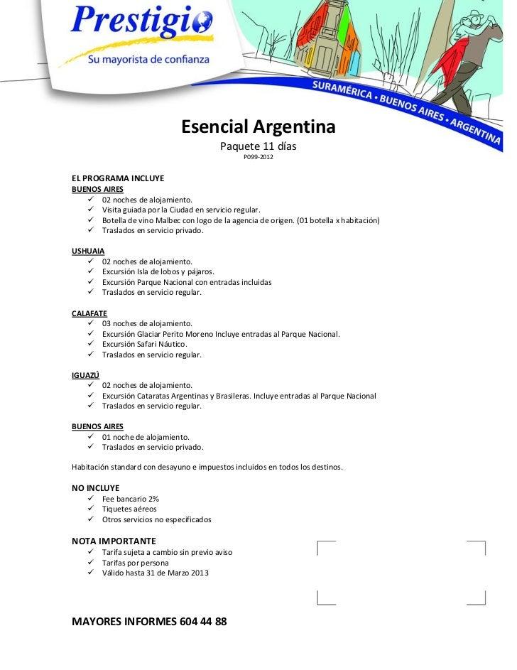 Esencial Argentina                                           Paquete 11 días                                              ...