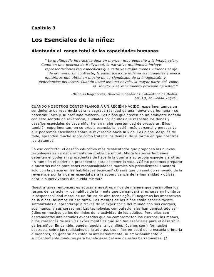 """Capítulo 3  Los Esenciales de la niñez: Alentando el rango total de las capacidades humanas         """" La multimedia intera..."""