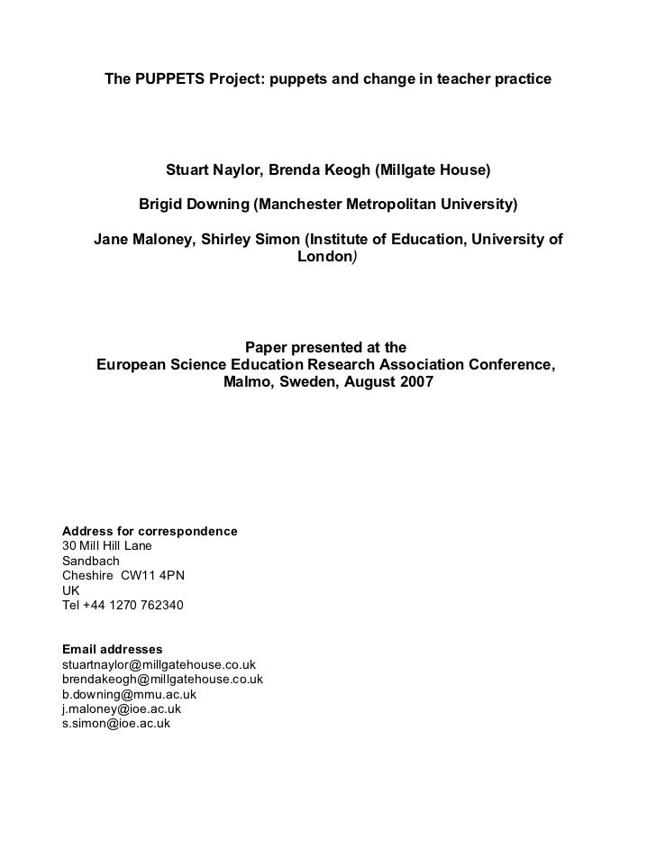 The PUPPETS Project: puppets and change in teacher practice                Stuart Naylor, Brenda Keogh (Millgate House)   ...
