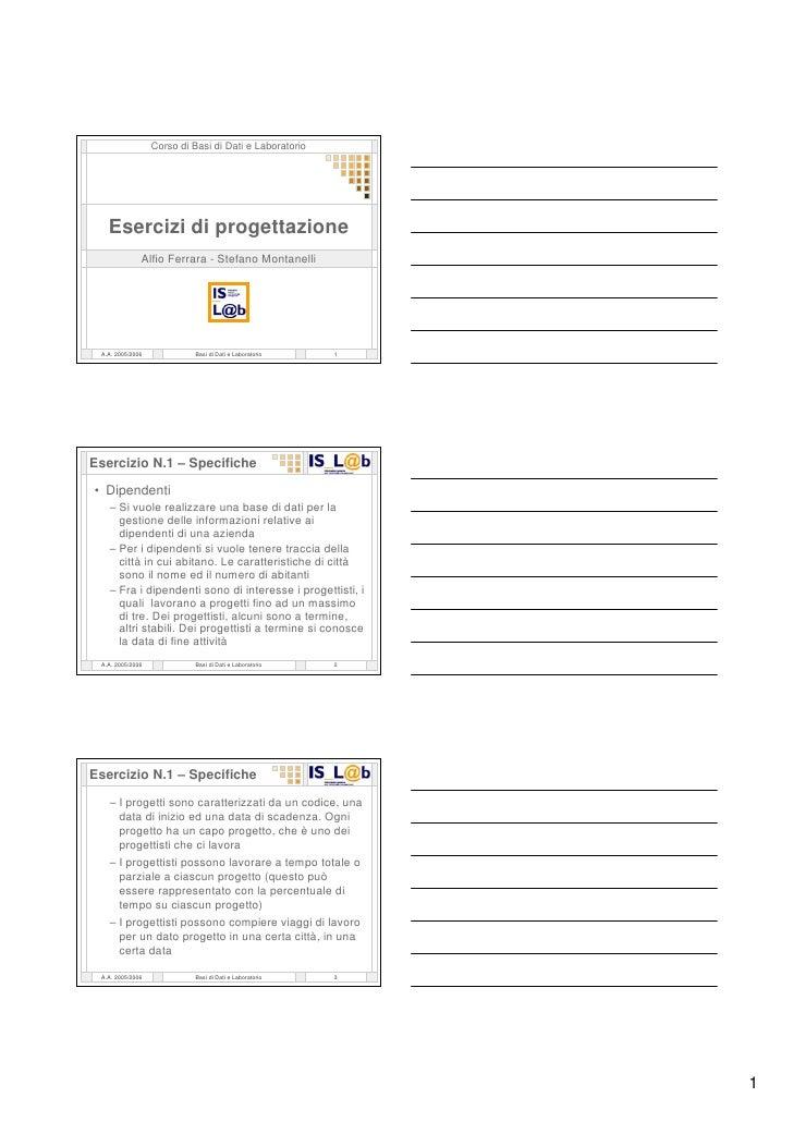 Esercitazioni 04  Progettazione Concettuale E Logica