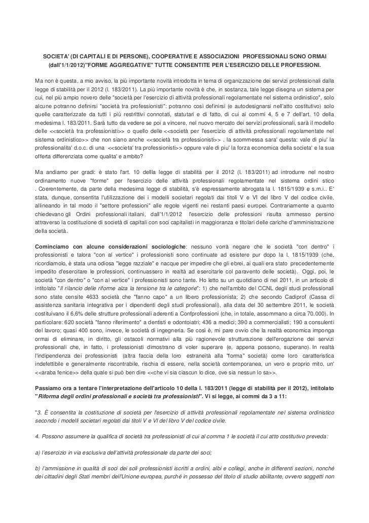 Esercizio aggregativo professioni di massimiliano