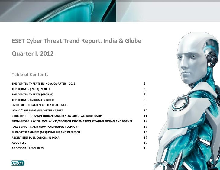 ESET Cyber Threat Trend Report. India & GlobeQuarter I, 2012Table of ContentsTHE TOP TEN THREATS IN INDIA, QUARTER I, 2012...