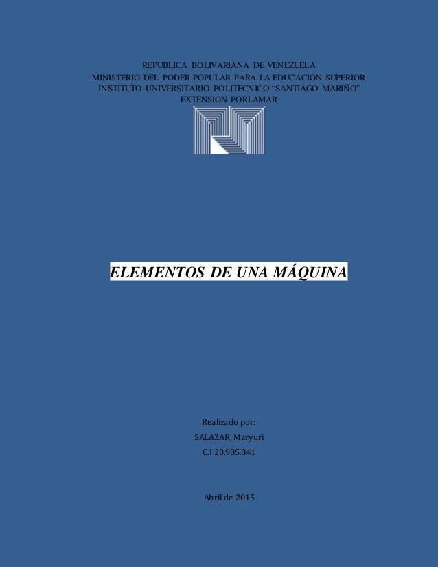 REPUBLICA BOLIVARIANA DE VENEZUELA MINISTERIO DEL PODER POPULAR PARA LA EDUCACION SUPERIOR INSTITUTO UNIVERSITARIO POLITEC...