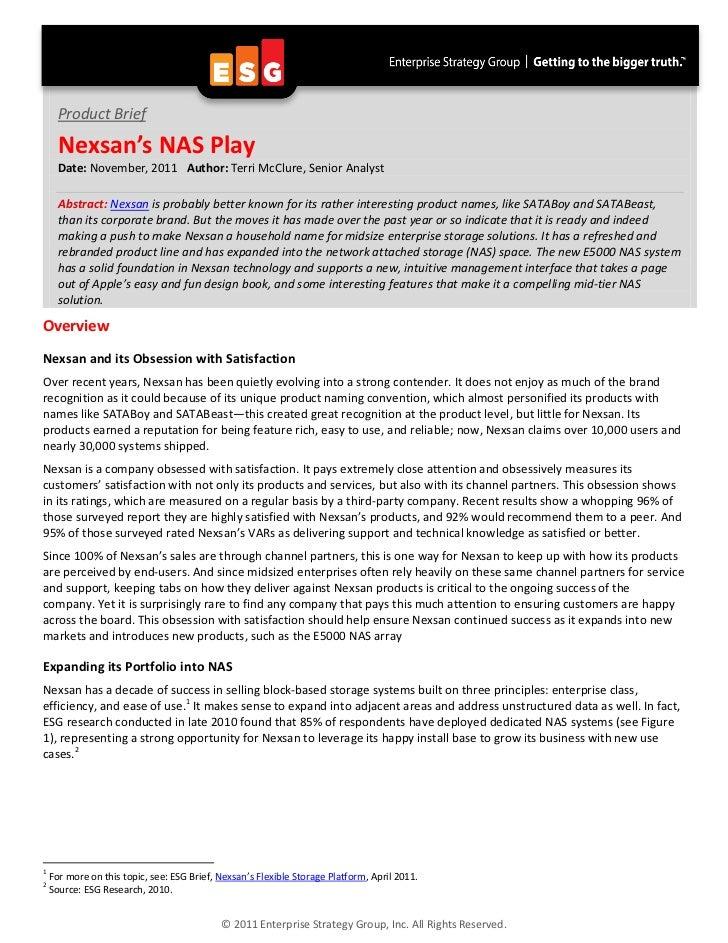ESG Brief Nexsan Gets Its NAS