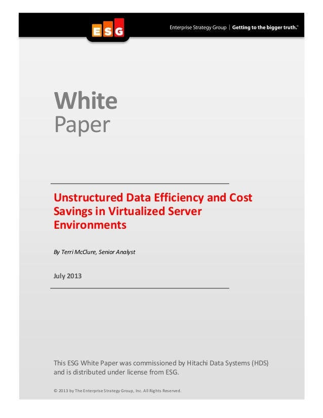 ESG Unstructured Data Efficiency and Cost Savings in Virtualized Server Environments Analyst Report