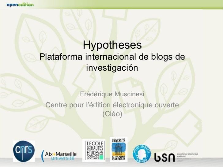 Hypotheses, plataforma internacional de blogs de investigación