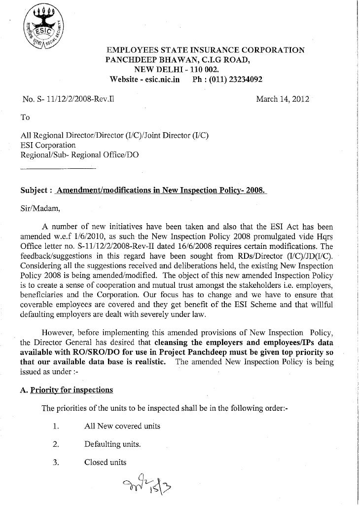 Esic new inspection  survey-policy-2012.pdf
