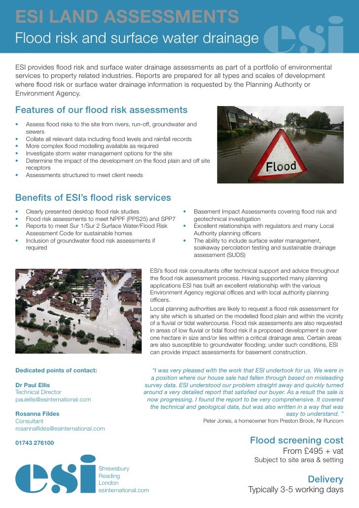 Esi Flood Risk And Surface Water Drainage
