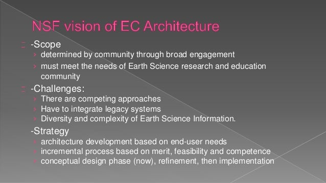 -Scope › determined by community through broad engagement › must meet the needs of Earth Science research and education co...