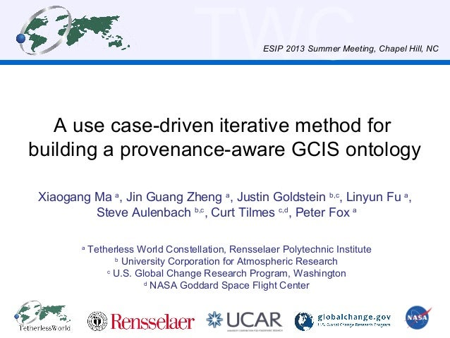 TWC A use case-driven iterative method for building a provenance-aware GCIS ontology Xiaogang Ma a , Jin Guang Zheng a , J...