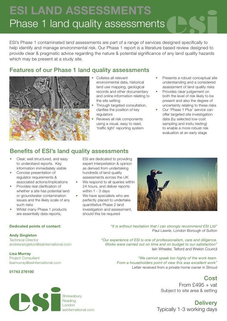 Esi Phase 1 Land Quality Assessments