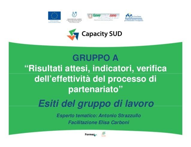"""GRUPPO A """"Risultati attesi, indicatori, verifica dell'effettività del processo di partenariato"""" Esiti del gruppo di lavoro..."""
