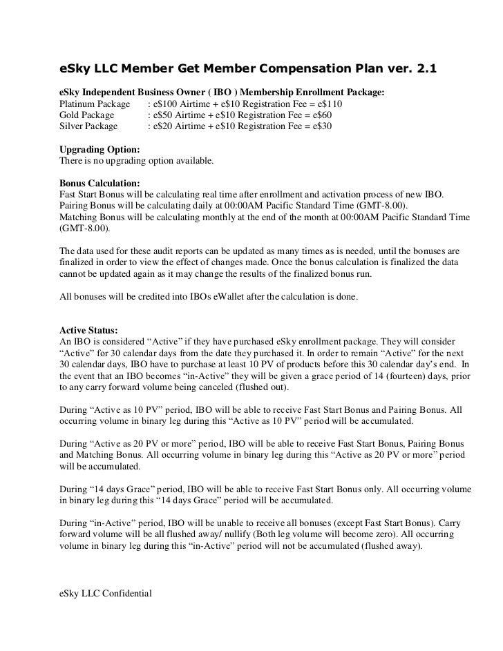 ESKY LLC MGM Compensation Plan ver. 2.1