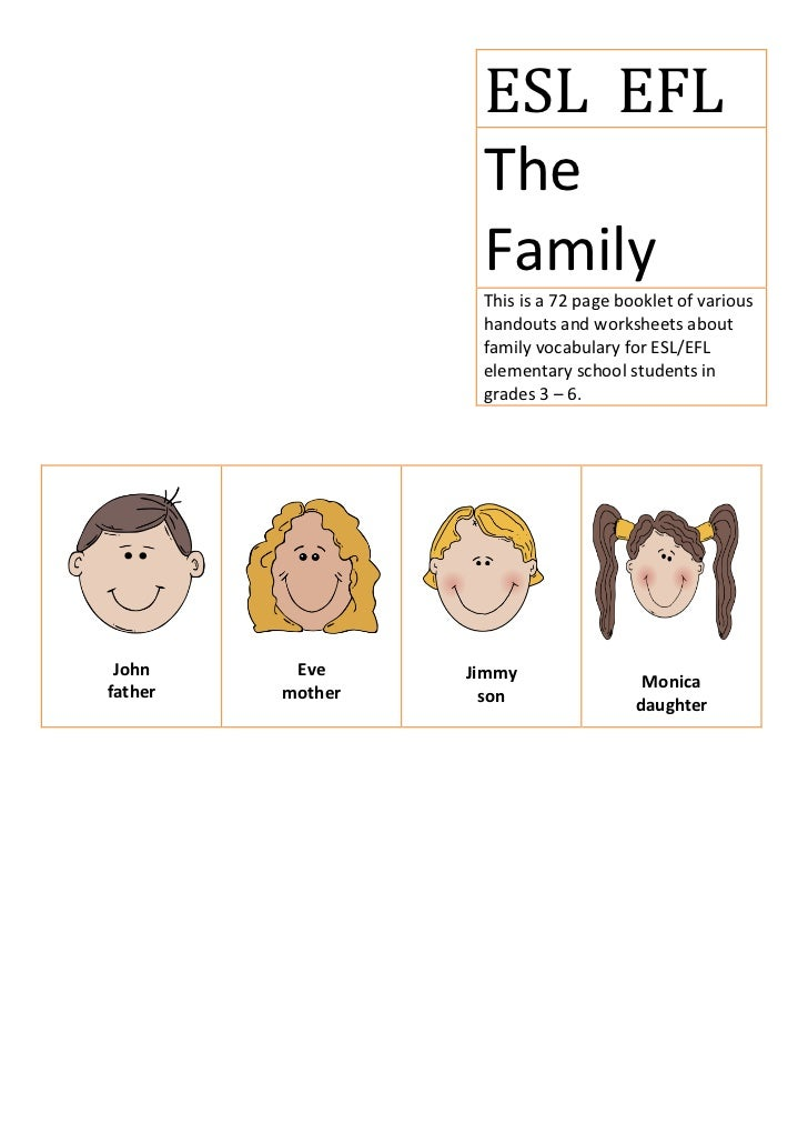 ESL EFL                   The                   Family                   This is a 72 page booklet of various             ...