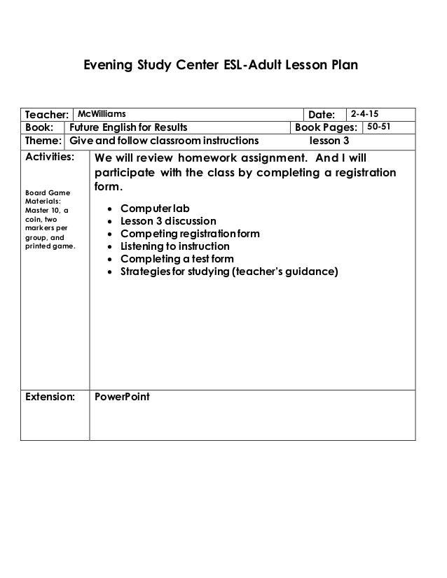 Unit 39 Computer Games Design And Development Assignment: Esl Lesson Plan Format 2015 Unit 3 Lesson 1-2