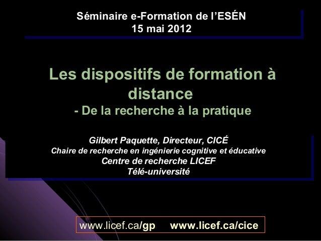 Séminaire e-Formation de l'ESÉN      Séminaire e-Formation de l'ESÉN                15 mai 2012                 15 mai 201...