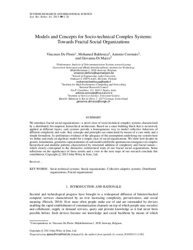 SYSTEMS RESEARCH AND BEHAVIORAL SCIENCE Syst. Res. Behav. Sci. 2013; 00:1–24  Models and Concepts for Socio-technical Comp...