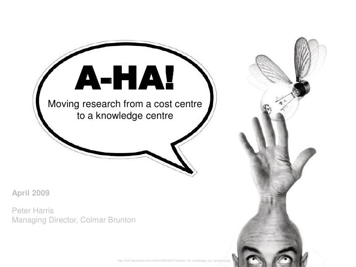A-HA!          Moving research from a cost centre                to a knowledge centre     April 2009  Peter Harris Managi...