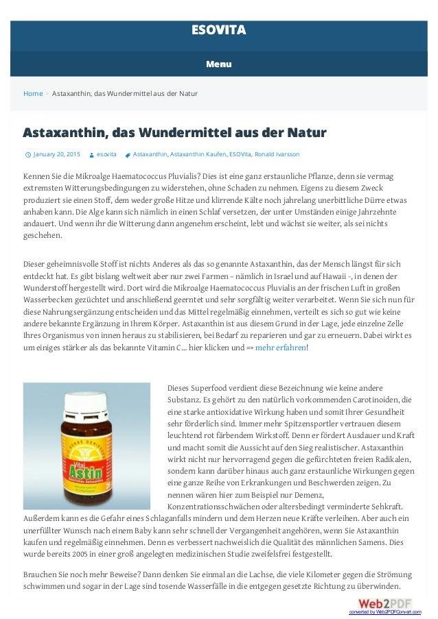 Home > Astaxanthin, das Wundermittel aus der Natur Astaxanthin, das Wundermittel aus der Natur January 20, 2015 esovita As...