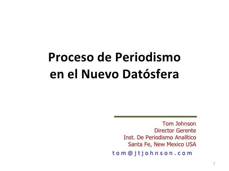Proceso de Periodismoen el Nuevo Datósfera                            Tom Johnson                        Director Gerente ...