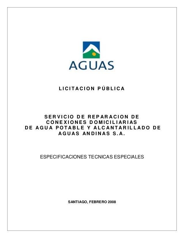 LICITACION PÚBLICA     SERVICIO DE REPARACION DE     CONEXIONES DOMICILIARIASDE AGUA POTABLE Y ALCANTARILLADO DE         A...