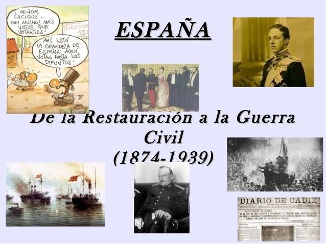ESPAÑAESPAÑADe la Restauración a la GuerraDe la Restauración a la GuerraCivilCivil(1874-1939)(1874-1939)