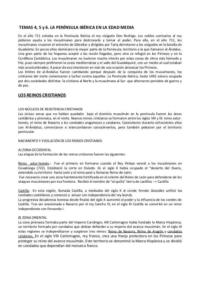 TEMAS 4, 5 y 6. LA PENÍNSULA IBÉRICA EN LA EDAD MEDIA En el año 711 reinaba en la Península Ibérica el rey visigodo Don Ro...