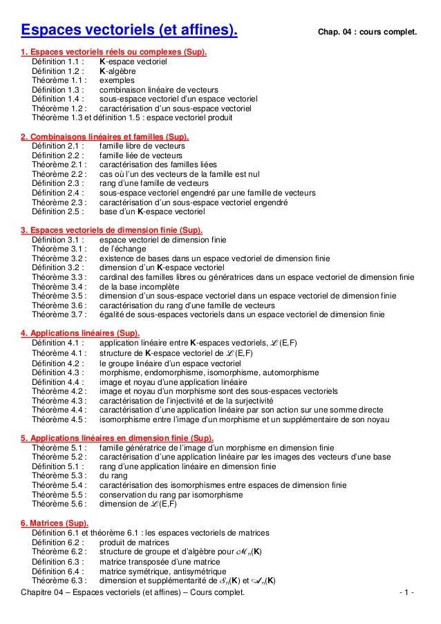 Espaces vectoriels (et affines).  Chap. 04 : cours complet.  1. Espaces vectoriels réels ou complexes (Sup). Définition 1....