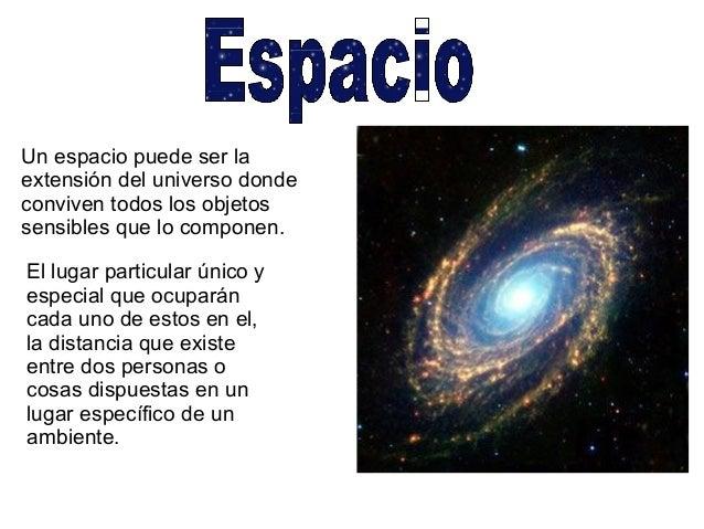 Un espacio puede ser la extensión del universo donde conviven todos los objetos sensibles que lo componen. El lugar partic...