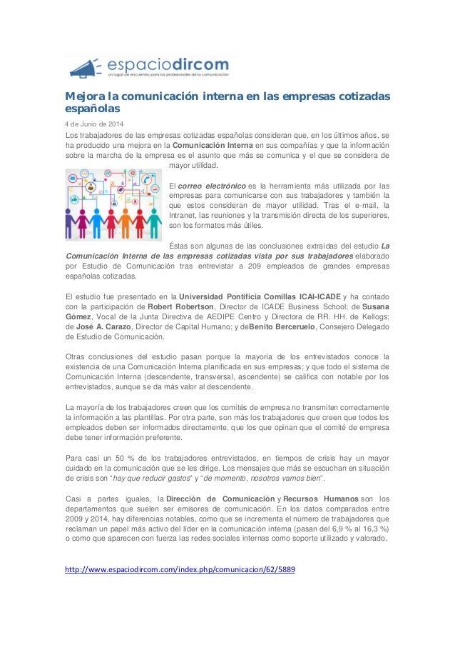 Mejora la comunicación interna en las empresas cotizadas españolas