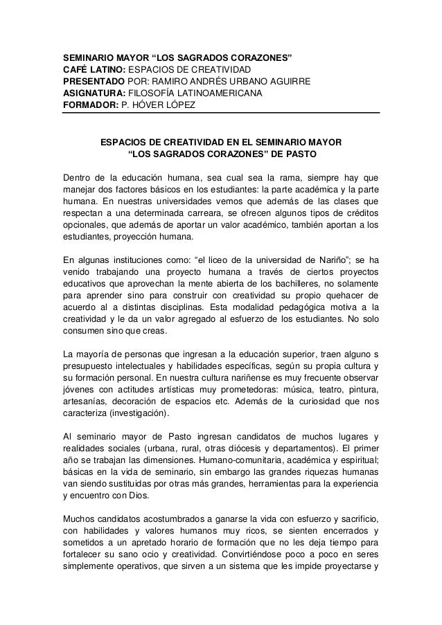 """SEMINARIO MAYOR """"LOS SAGRADOS CORAZONES"""" CAFÉ LATINO: ESPACIOS DE CREATIVIDAD PRESENTADO POR: RAMIRO ANDRÉS URBANO AGUIRRE..."""