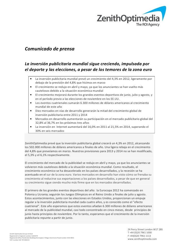 Previsión Inversiones Publicitarias Mundiales 2012