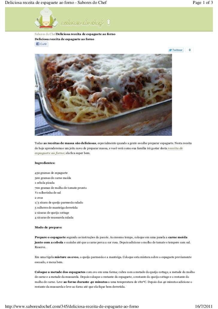 Espaguete ao forno