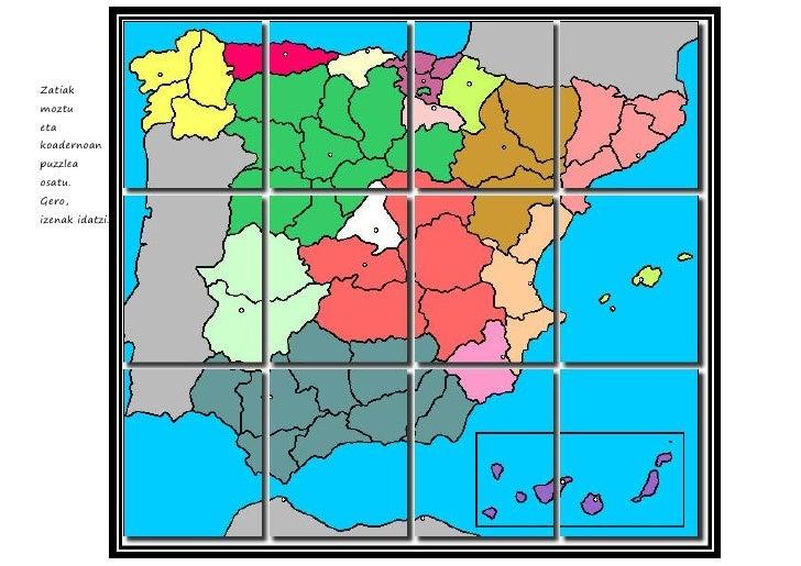 Espainiako mapak, erkidegoak,probintziak a4 FITXAK