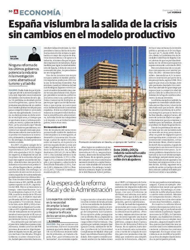Espana vislumbra la salida de la crisis sin cambios en el modelo productivo. Estudio SRC La Inversión en I+Di, La Verdad de Cartagena